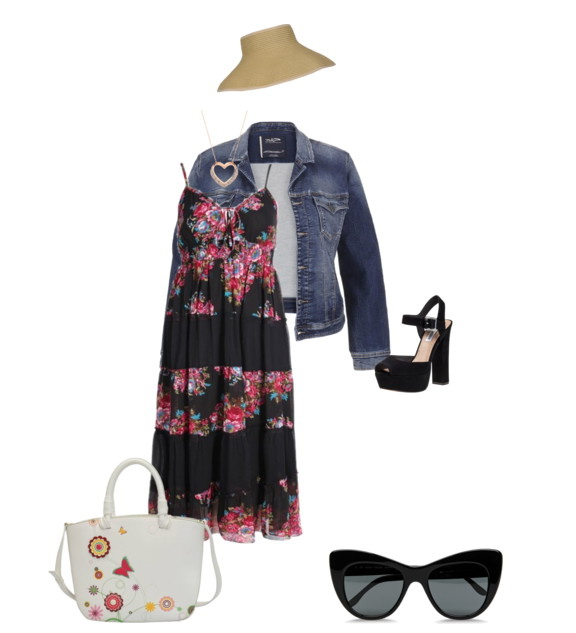 floral print black dress with denim jacket