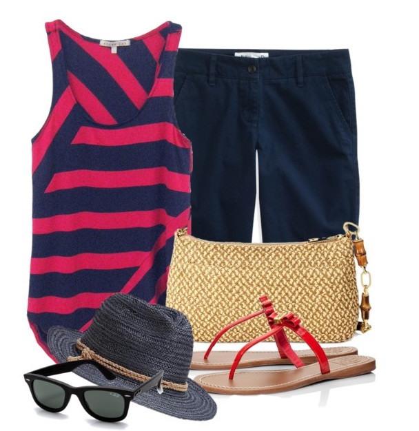 tank with navy shorts for summer