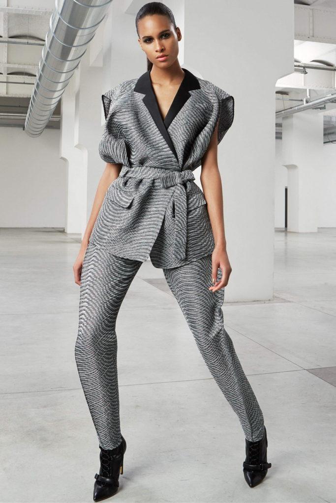 gray women's pant suits