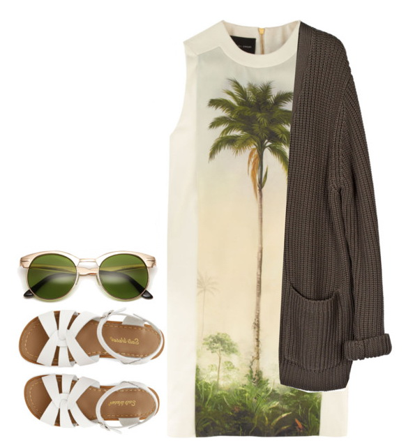 palm tree t-shirt with blazer, sunglasses and sandals