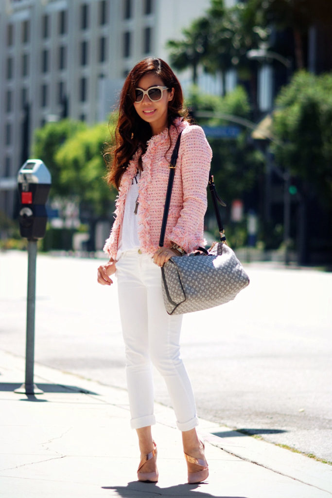 white pants with pink blazer