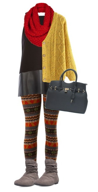 winter look with leggings and dress