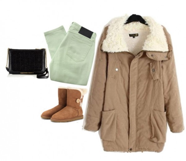 outfit with shearling jacket