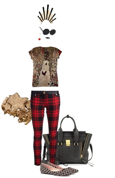 punk look with plaid pants
