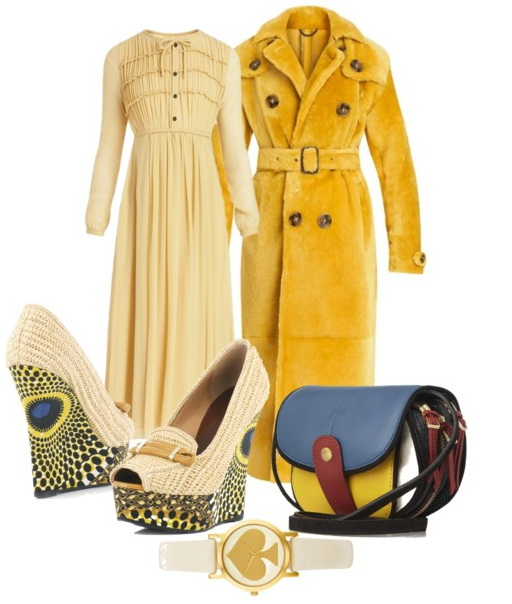 yellow outfit for winter