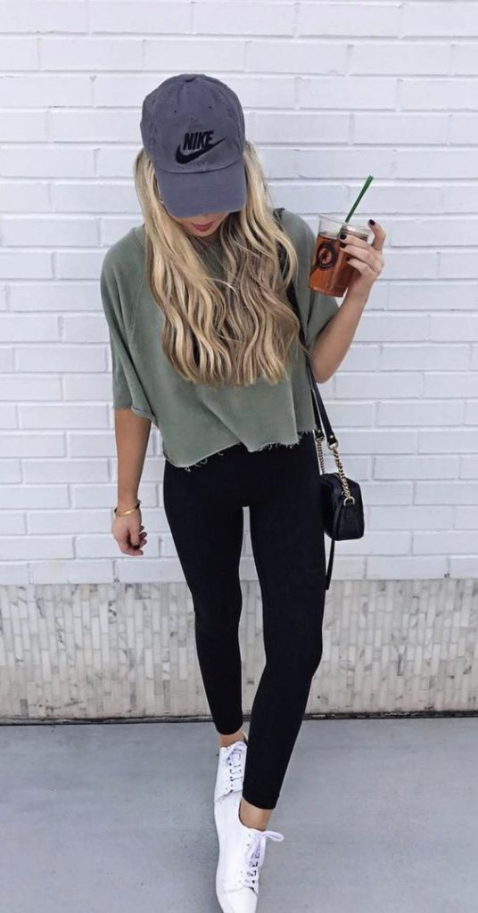 sporty chic style with baseball hat