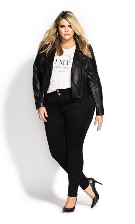 plus size biker jackets black outfits
