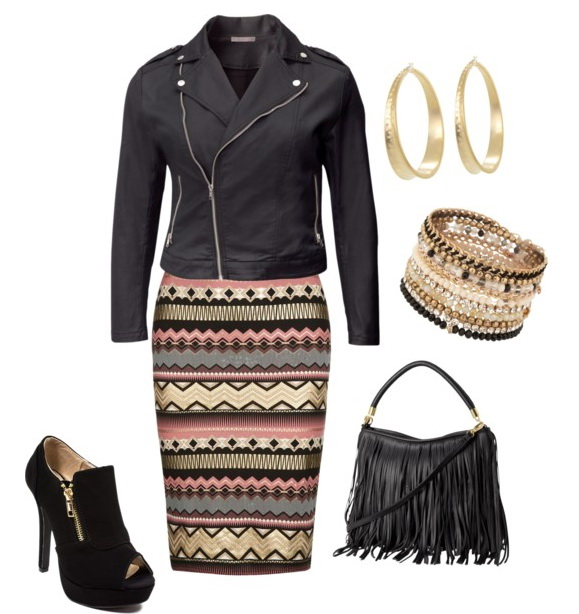 leather jacket with pencil skirt