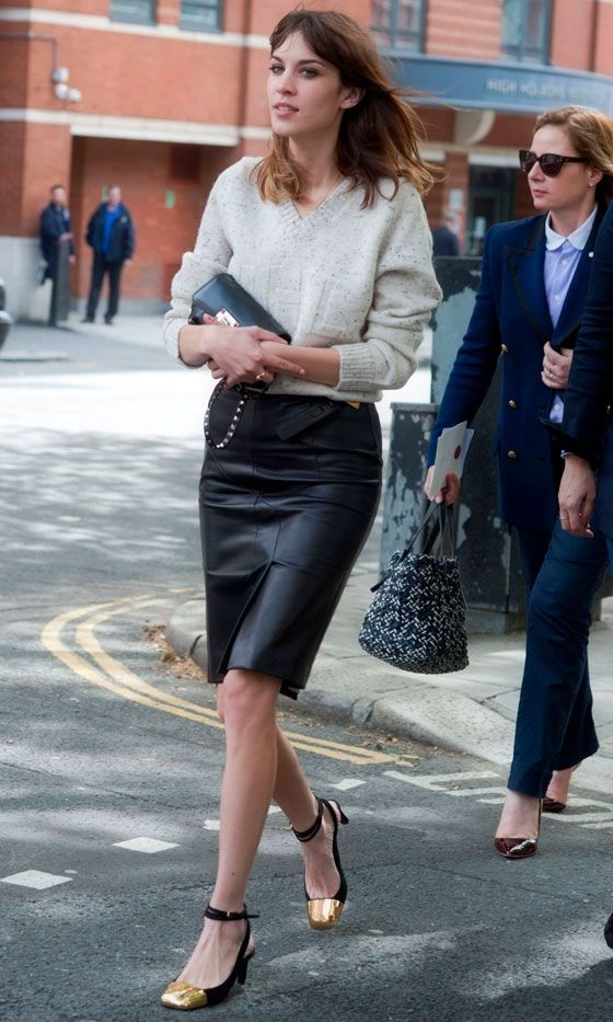 black pencil skirt with heels