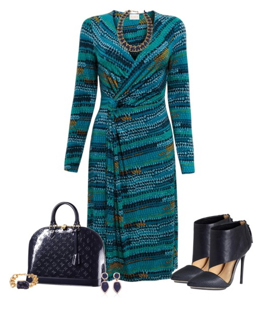 blue printed dress with heels