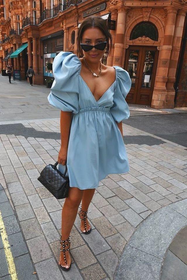 chic blue summer dress