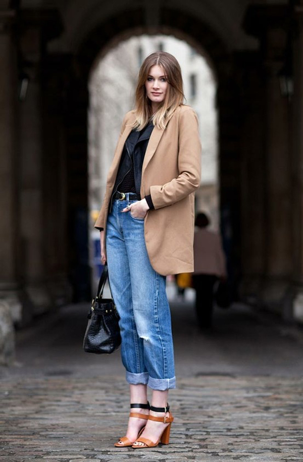 boyfriend jeans with camel coat and heels