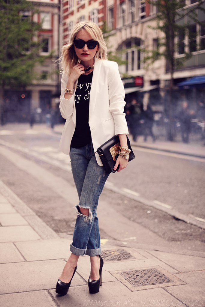 boyfriend jeans with white blazer