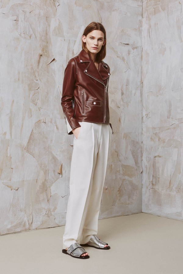 brown leather jacket with white pant