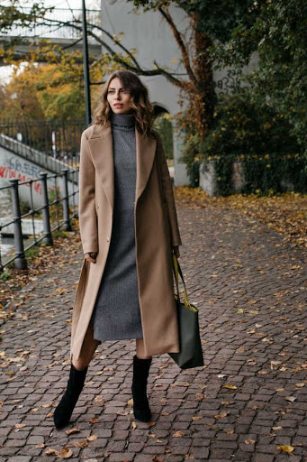 camel coats with dresses