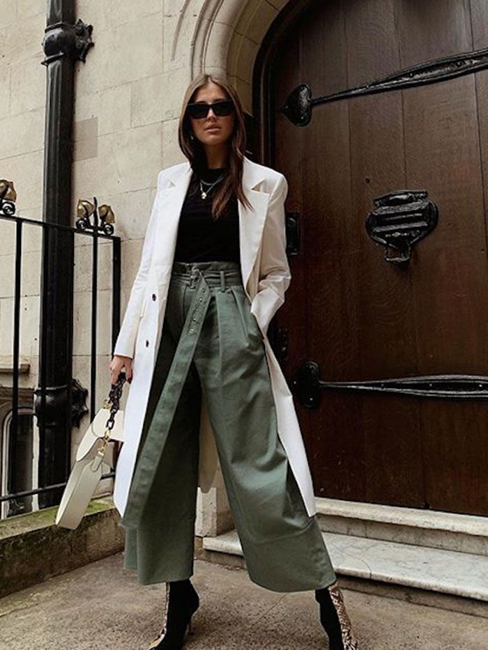 green wide pant fall outfit