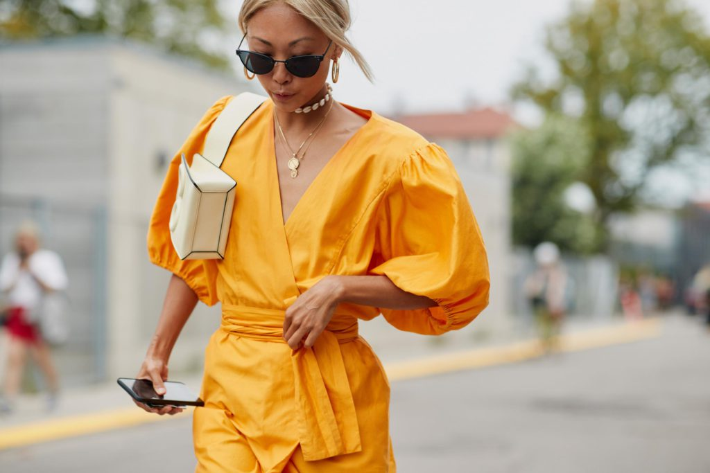 yellow outfit with puff sleeves
