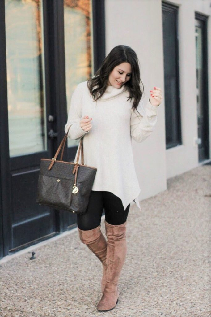 cowl neck sweaters with long boots