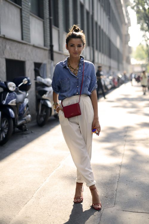 denim shirt and white peg leg trousers