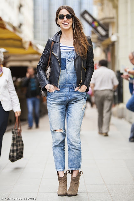 denim dungaree with leather jacket