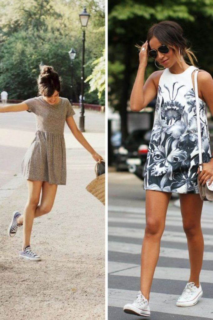 sneakers with dresses looks