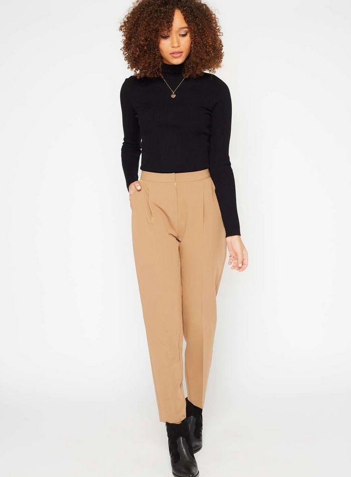 camel peg leg trousers for winter