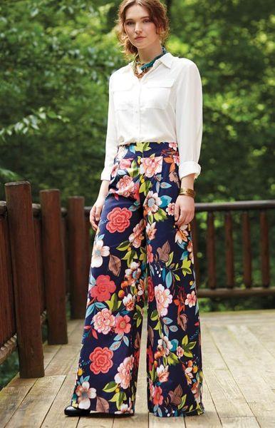 floral wide leg pants look