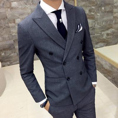 gray double breasted suits for business