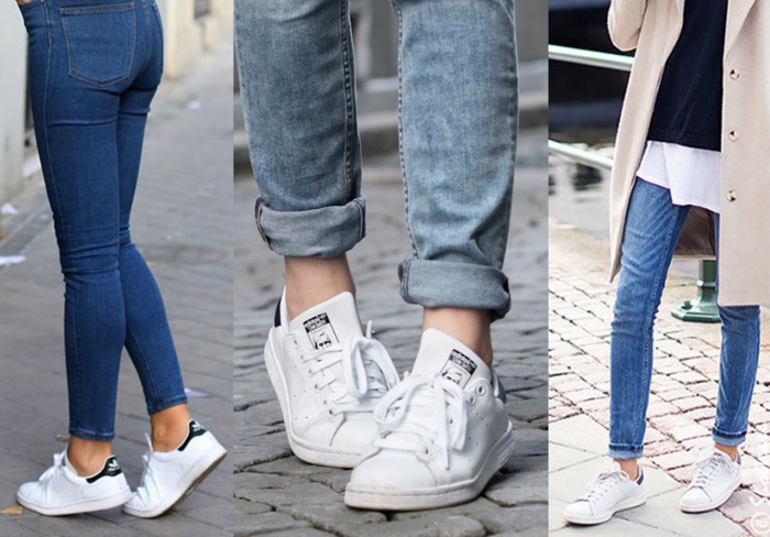 white sneakers with skinny jeans