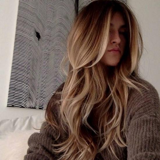 blond long cascade haircut