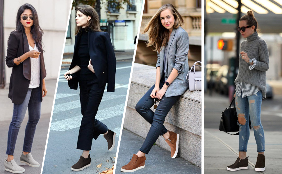 women's outfits with wedge sneakers