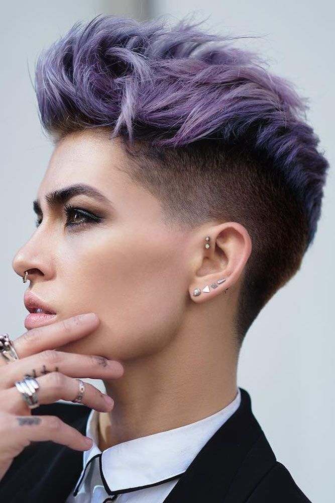 purple tomboy boyish hairstyles for women