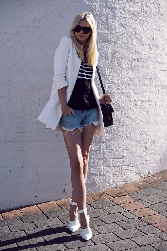ripped jeans shorts with white blazer and heels
