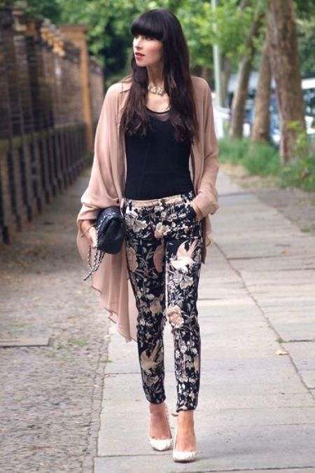 black floral pants with pink kimono