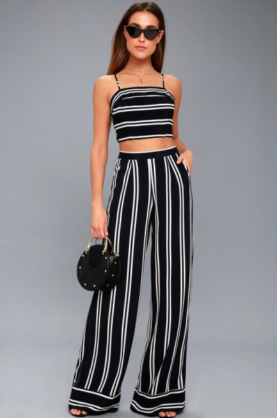 striped wide leg pants outfit