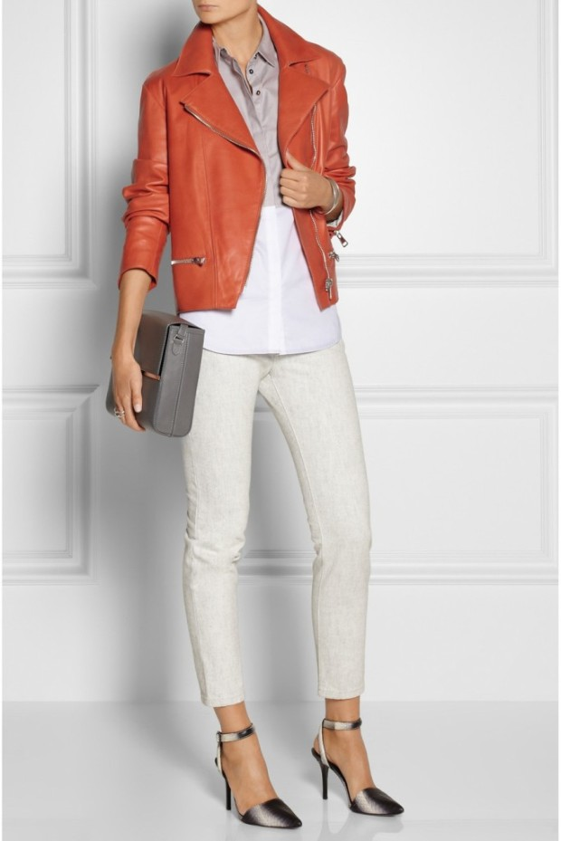 white outfit with orange jacket