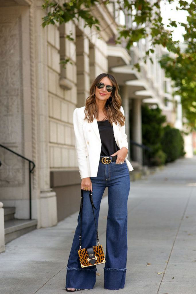 white blazer with flared jeans