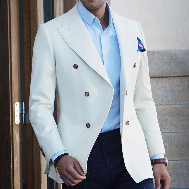 men's outfit with white blazer