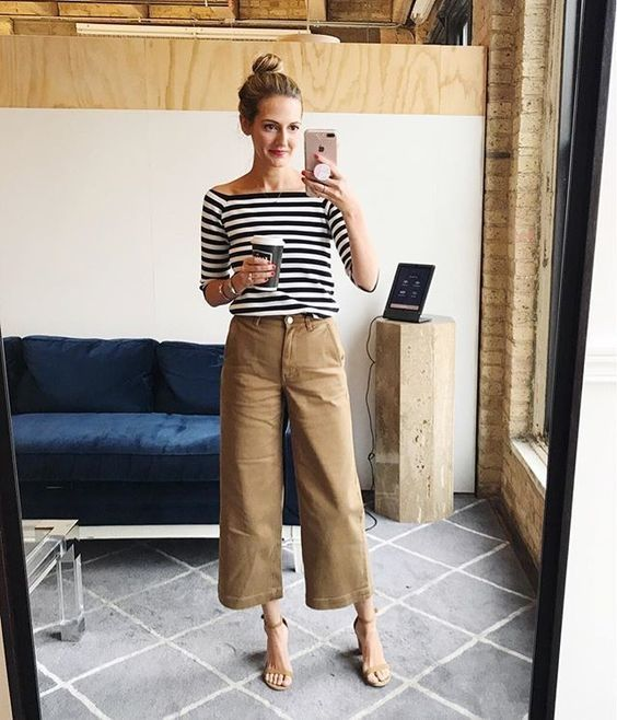 women's casual outfit with wide leg pants and striped top