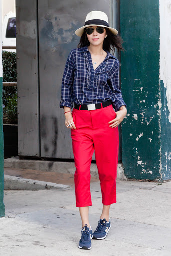 red peg leg trousers with blue shirt