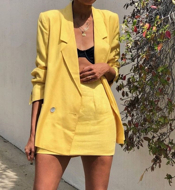 yellow skirt suits