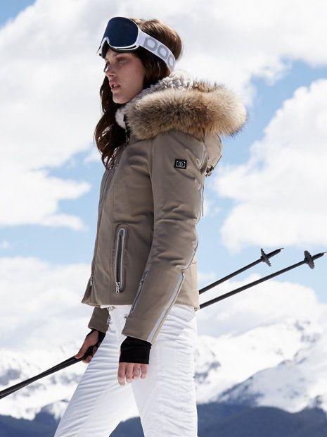 beige coat with white pants women's ski clothing