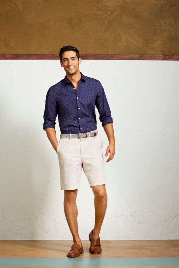 men's smart casual look  with beige short pants