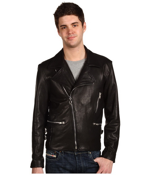 men's black biker leather jacket