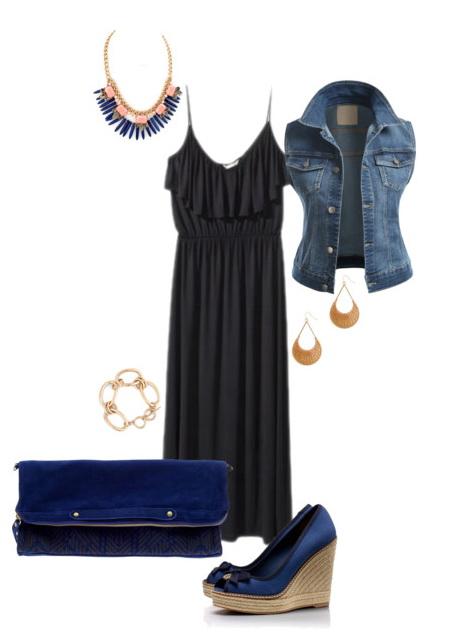 black plus size maxi dresses with denim vest looks