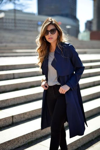 women's casual outfit with blue trench coats