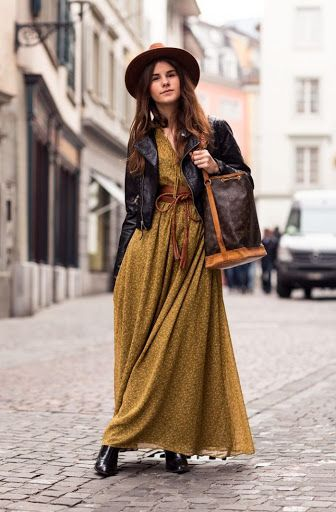 green bohemian maxi dress with leather jacket