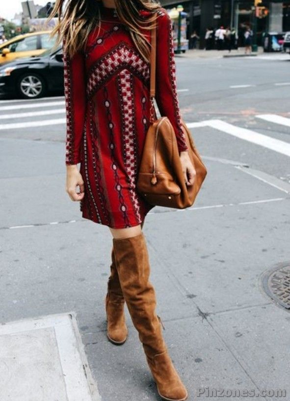 red bohemian dress with long brown boots