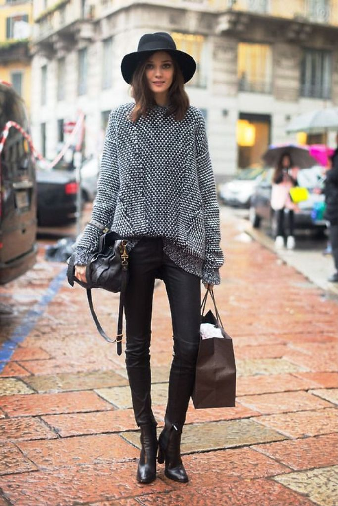 chic bohemian look with black pants gray sweater and hat