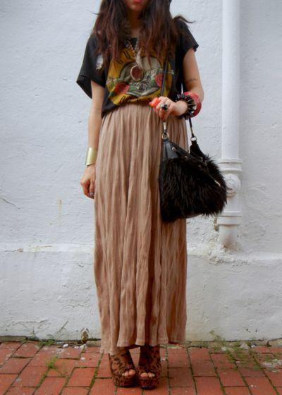 boho vs grunge with long skirt